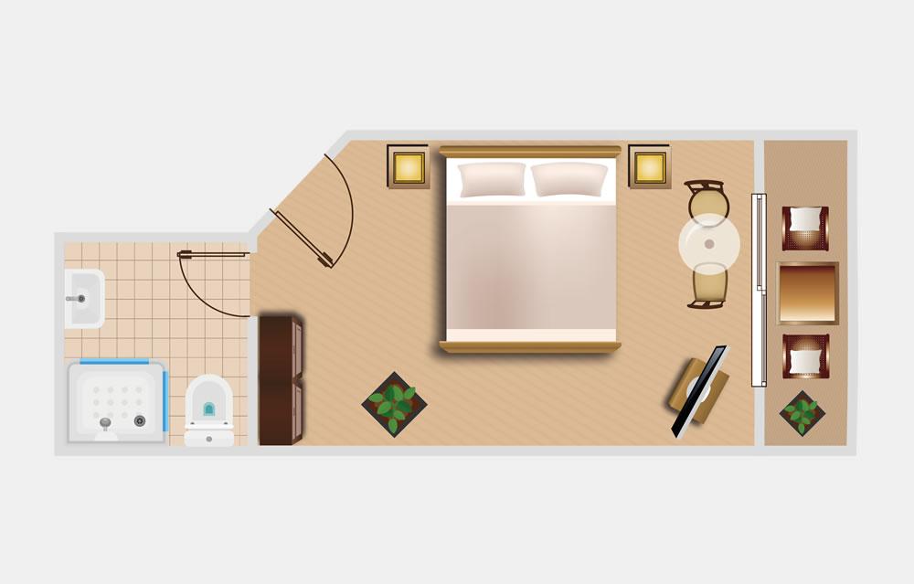 Doppelzimmer Basic Die Bergquelle Bed and Breakfast Hotel Flachau Salzburg Zimmerskizze