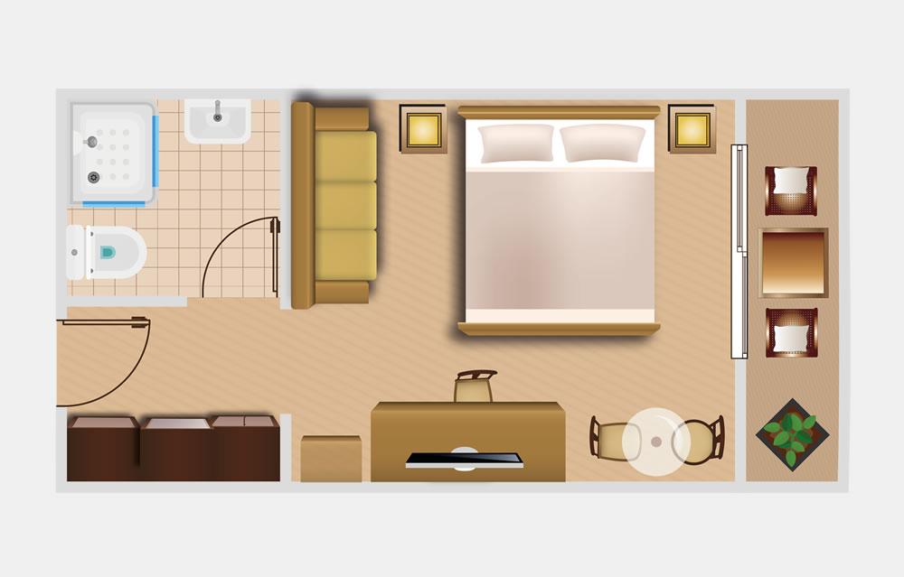 Doppelzimmer Comfort Die Bergquelle Bed and Breakfast Hotel Flachau Salzburg Skizze